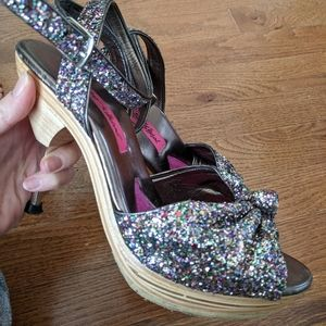 Betsey Johnson glitter Polly high heels platform